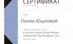 Сертификат о прохождении МК Игоря Манна
